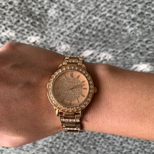 Rose Gold Fossil Watch With Crystals